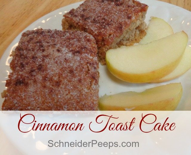 SchneiderPeeps - Cinnamon toast is such a treat and this breakfast cake is just like it, only better. Of course you can eat it as a dessert but it's really good for breakfast.