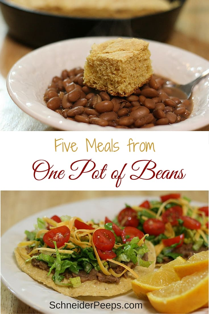 Beans are such a great way to stretch your budget and they don't have to be boring. Learn how to make five delicious meals from one pot of beans