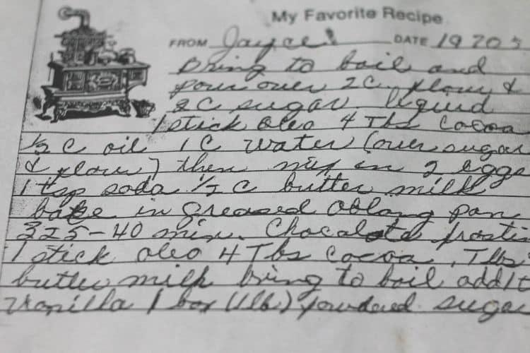 image of handwritten old fashion chocolate cake recipe