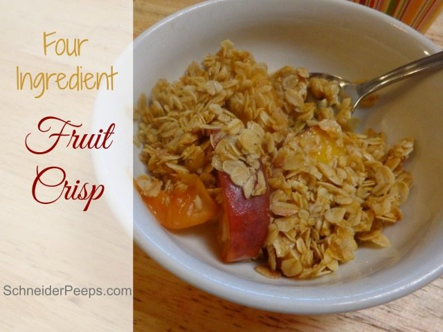 Fruit crisp is a great dessert or breakfast. We make it with only four ingredients and get rave reviews every time we share it.