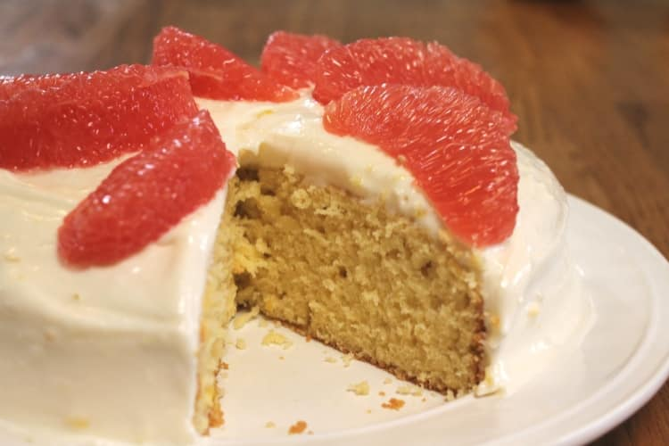 image of grapefruit cake decorated with grapefruit sections