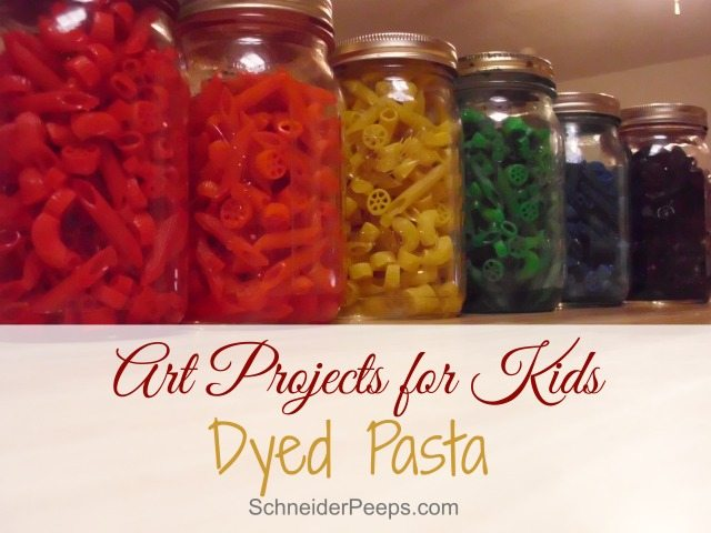 SchneiderPeeps - Dyed Pasta is a fun and frugal art project for kids. With only 3 ingredients you can make some great memories.