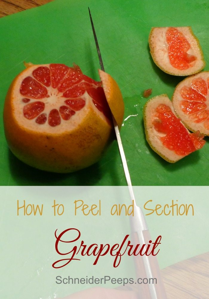 SchneiderPeeps - How to Peel and Segment a  grapefruit These make a delicious addition to salads or salsas.  They also make a great snack. To get your hands on the fruit without the peel or segment walls, follow these steps.