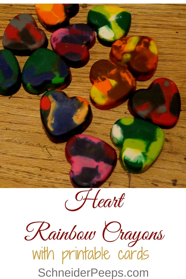 Gather up all those broken crayons laying around the house and give them new life by making rainbow crayons. Make heart crayons and download the cards to give at Valentines.