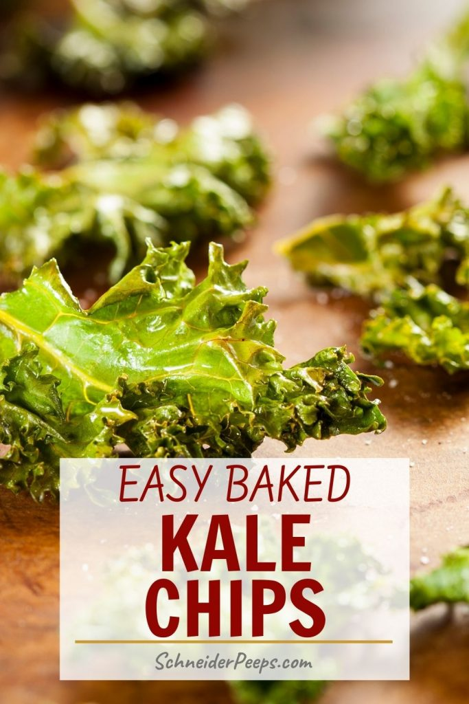 easy baked kale chips on wood
