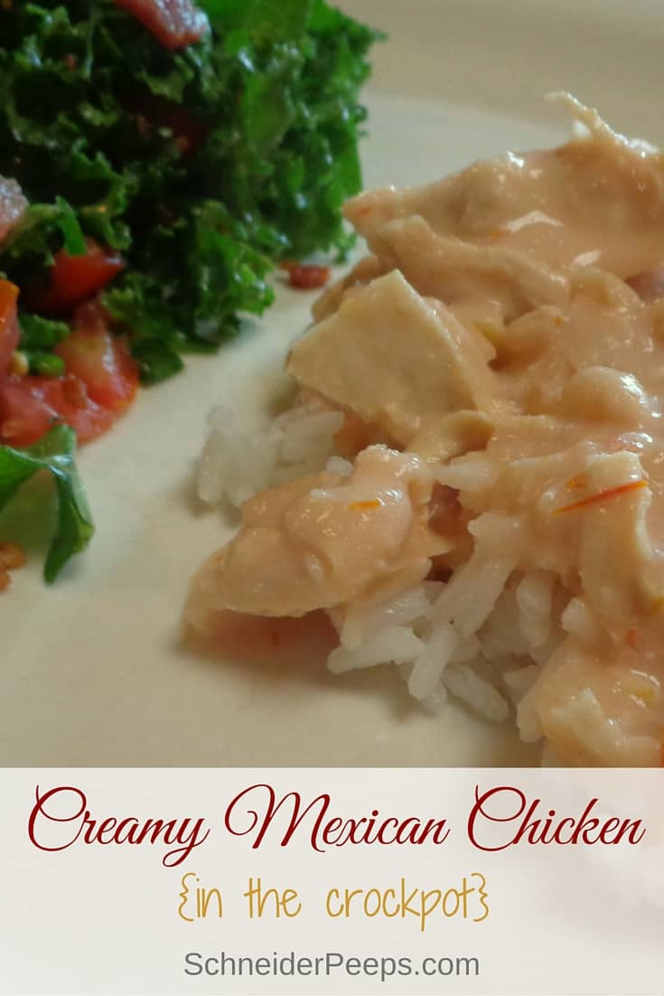 Creamy Mexican Chicken is a versatile crockpot recipe. You can make it with or without beans.