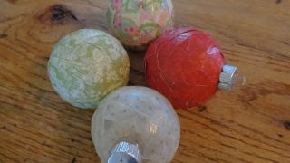 Homemade Decoupaged Christmas Ornaments