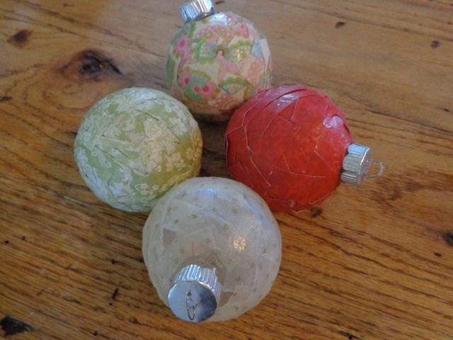 image of decoupaged Christmas ornaments