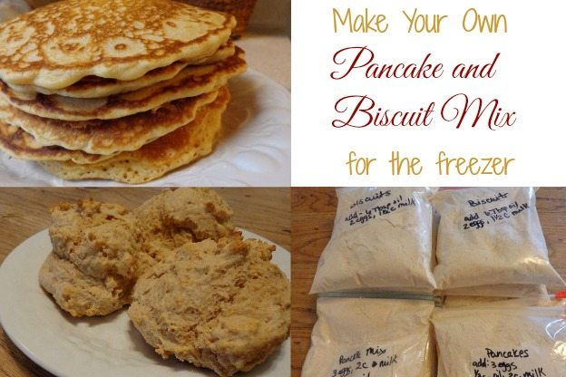 Whole wheat pancake and biscuit mix in the freezer makes for an easy breakfast. Just dump in bowl, add wet ingredients and cook.