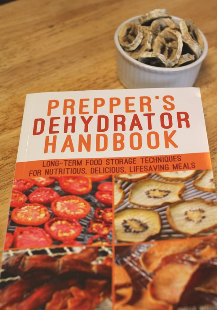 image of Prepper's Dehydrator Handbook and bowl of dried bananas