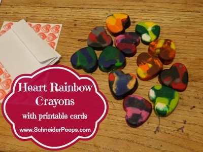 valentine heart rainbow crayons and cards