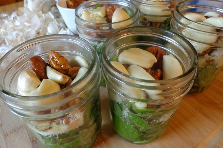 photo of basil pesto in jars