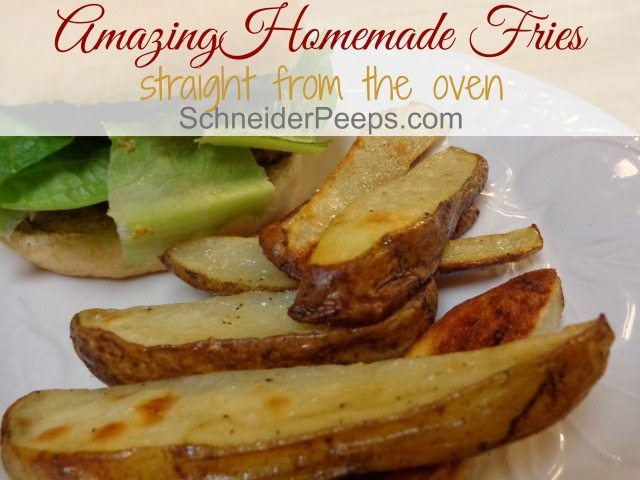 Baked french fries are easy to make. With just four ingredients, and two of those are salt and pepper, you can give your family fries that are crisp on the outside and soft on the inside. They'll never want fast food fries again!