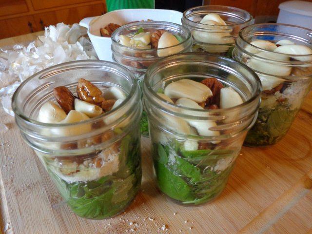 pesto in jars