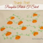 Thumb print pumpkin patch t-shirts are a super fun and easy way to get into the fall spirit. We literally did this while cooking dinner.