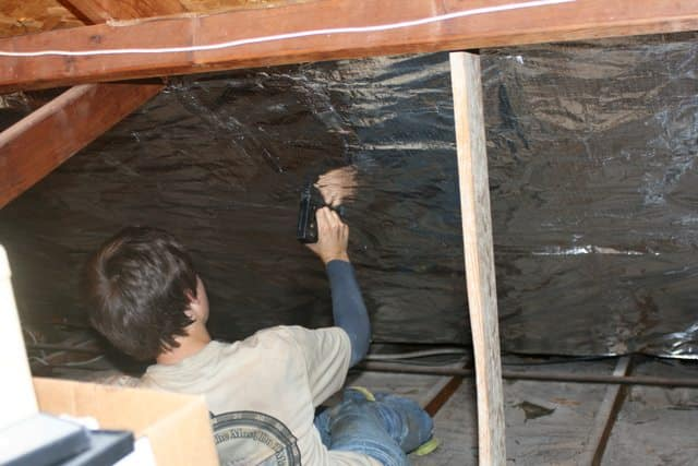 stapling attic foil