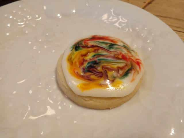 image of swirled tie dyed shortbread cookies with icing