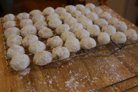 Mexican Wedding cookies cooling on rack