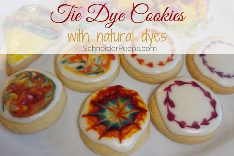 image of tie dye shortbread cookies with icing