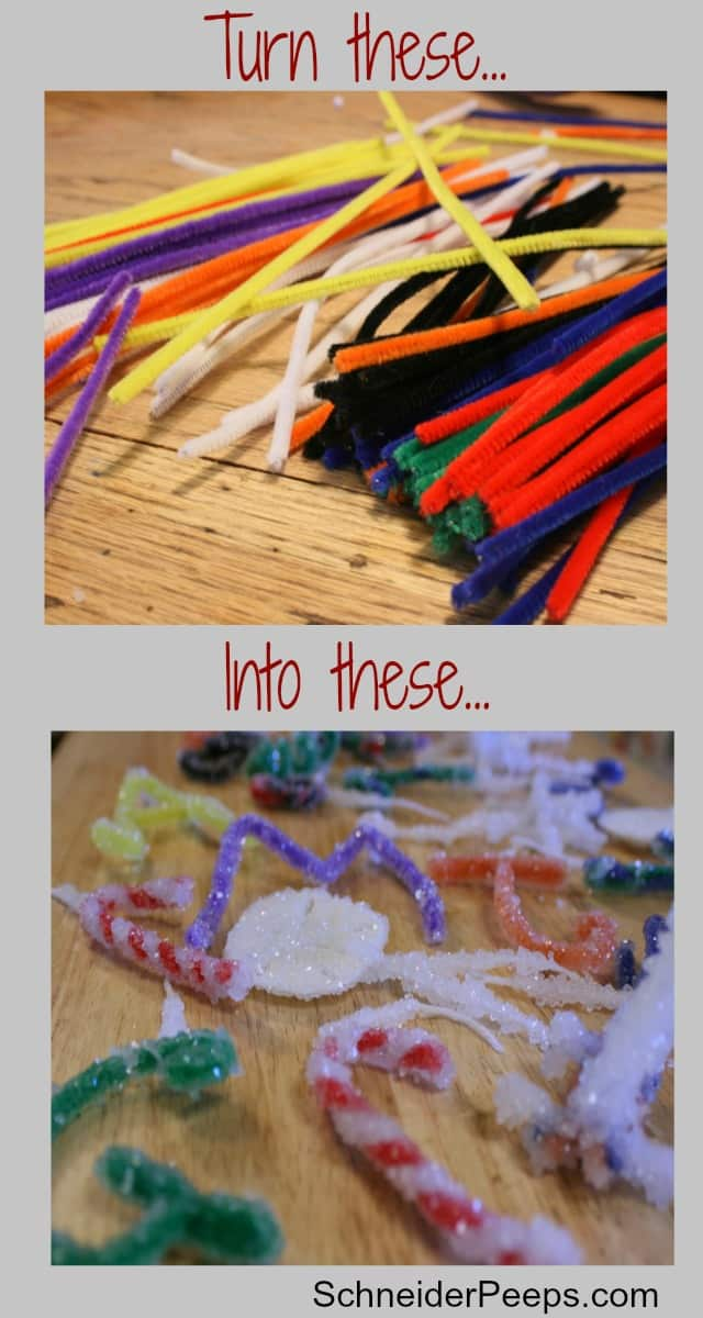image of pipe cleaners and borax snowflakes and crystal ornaments