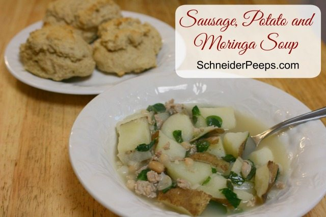 SchneiderPeeps - Sausage, Potato and Moringa soup is an incredibly healthy soup.  Moringa is similar to spinach in taste and texture but jam packed with nutrients.  It's the only plant that is actually a complete protein.