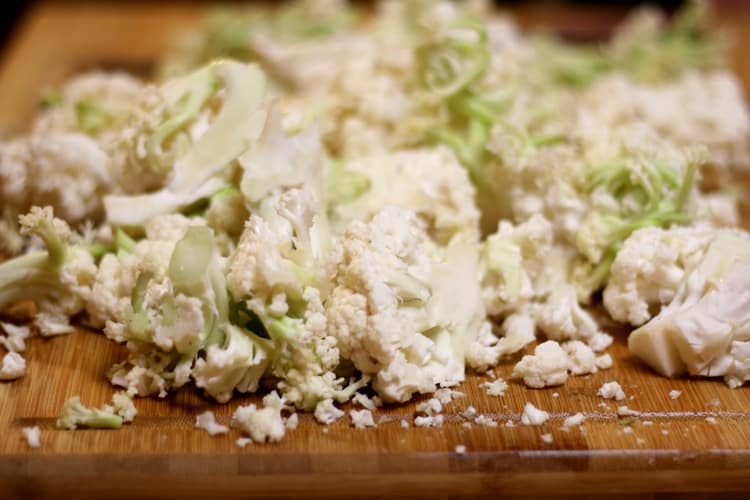 image of cut cauliflower ready to be fermented