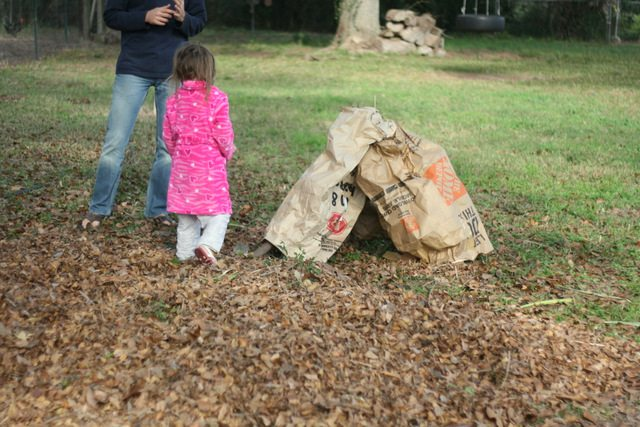 image of young girl playing in leaf pile