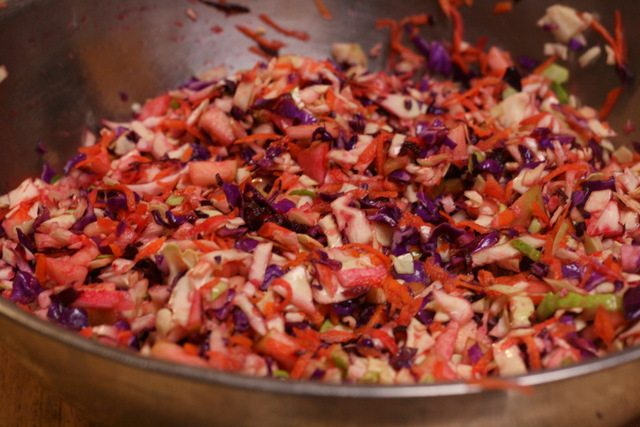 Lacto-fermented sauerkraut has so many great things going for it - beneficial enzymes, lots of vitamin C and natural probiotics that aid in digestion and general heath. And this rainbow version is even better.