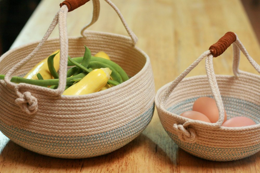 SP - Rope Harvest Basket leather handles set of 2