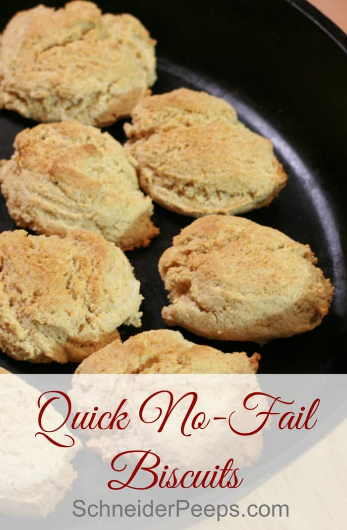 Quick no fail biscuits are the perfect thing to add to your breakfast or a pot of soup. With this biscuit recipe you don't have to cut in shortening or butter. They can be made as drop biscuits or cut out biscuits.