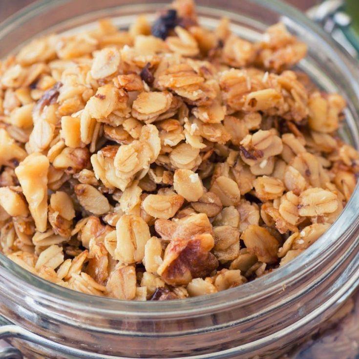 homemade granola in a glass jar