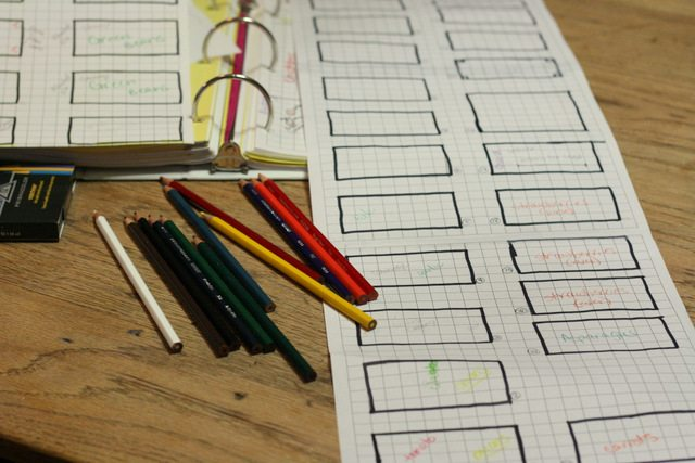 image of garden planning worksheets with colored pencils