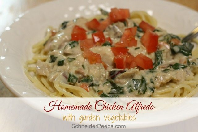 What do you do when your family is tired of the vegetables from your garden? I make an easy homemade chicken alfredo to use up those veggies in a tasty way.