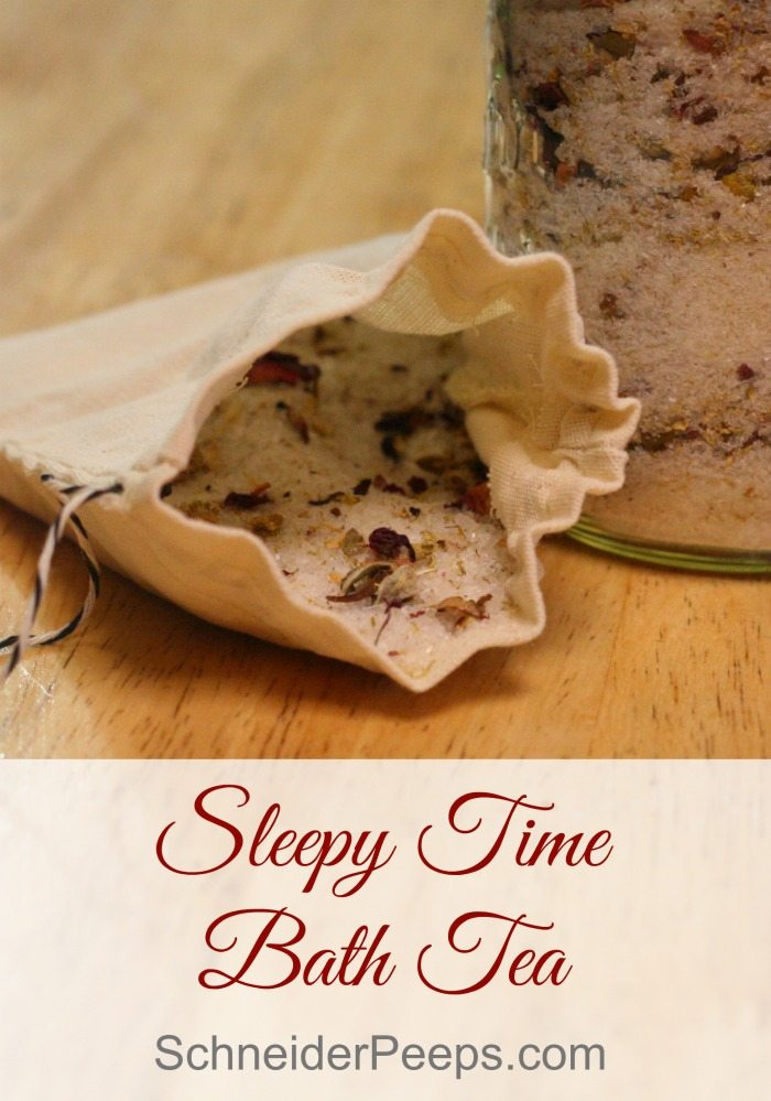 Herbs and essential oils are combined to make this super relaxing sleepy time bath tea. Learn how to make it for yourself or to give as gifts. #herbalbath #bathsalts #bathtea