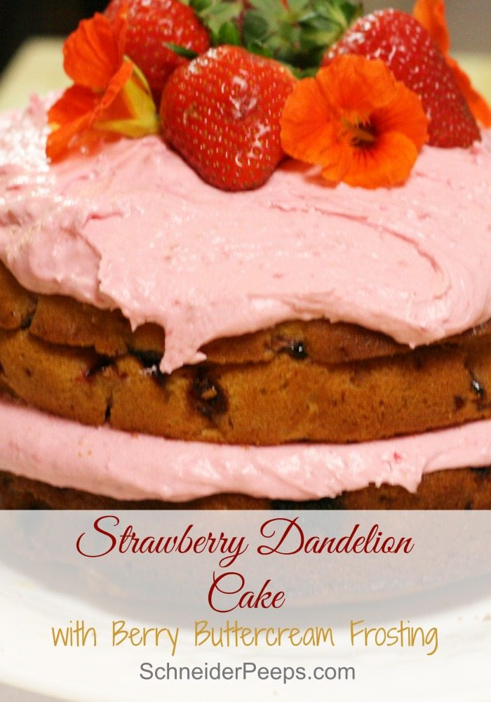 Yep, I'm aware that those are not dandelions on the strawberry dandelion cake. We ran out before decorating the cake. The dandelion gives the cake a honey flavor which goes nicely with the strawberries. Want to learn how to make a cake that will wow your guests? This article will show you how.
