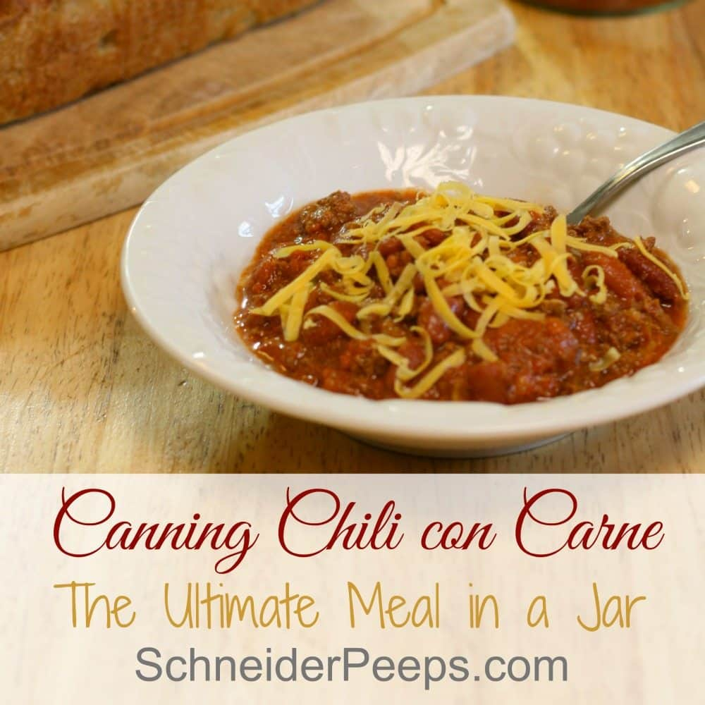 Cannning meals in a jar is a great way to make sure you have meals for those super busy times. Learn how to easily make chili con carne in a jar. This is family favorite, in fact some family member pray for a few failed seals so they can eat this right away. Yep, it's that good.