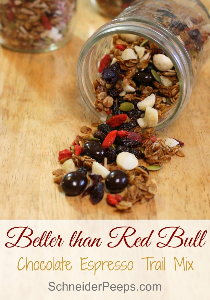 Sending students off to college? Make sure you make some of this better than Red Bull trail mix, complete with dark chocolate espresso beans. They'll be happy!
