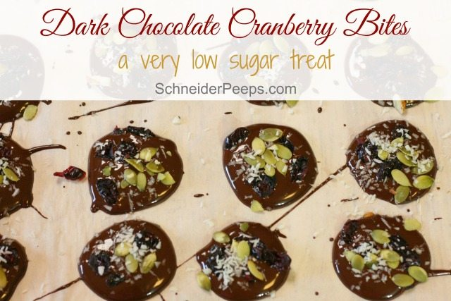 Looking for a true healthy treat? Try these dark chocolate cranberry bites, the only sugar is in the bittersweet chocolate chips and Craisins dried cranberries.