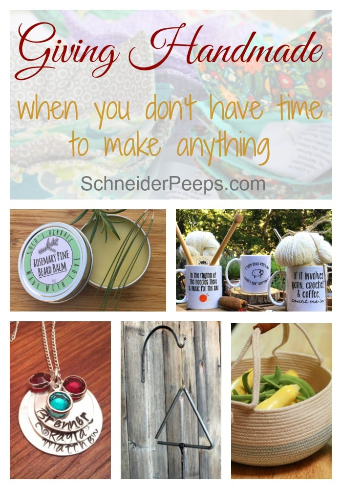 Do you want to give handmade gifts but lack the time (or skill) to get them done? Don't let stop you, you can get great handmade gifts for everyone on your list with these suggestions.