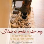 If our family is in the habit of taking their shoes off at the door, your entry way can get pretty cluttered. Learn how to make a quick shoe rug to keep it looking tidy.