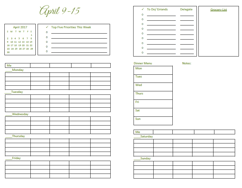 Controlling the Chaos printable planner