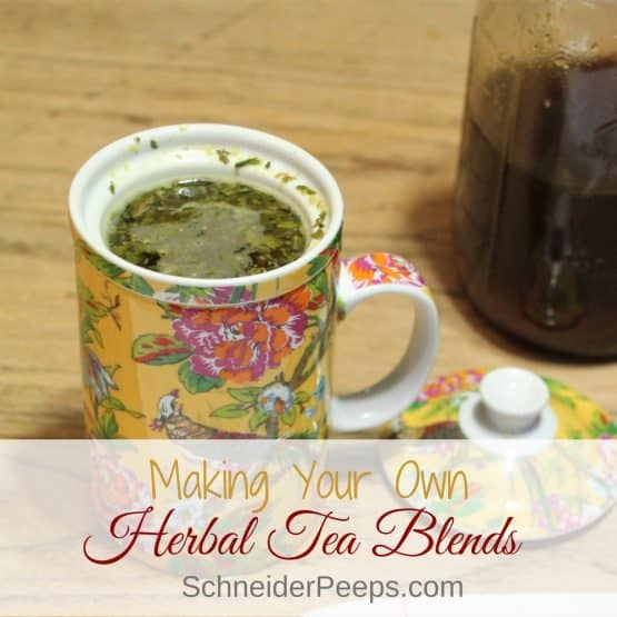Herbal tea blends | SchneiderPeeps.comMaking your own herbal tea blends is easy and much more cost effective than buying premade blends. Learn how to make DIY tea blends using traditional methods.