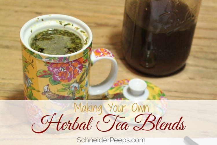 Making Herbal Tea Blends | SchneiderPeeps.com Making your own herbal tea blends is easy and much more cost effective than buying premade blends. Learn how to make DIY tea blends using traditional methods.