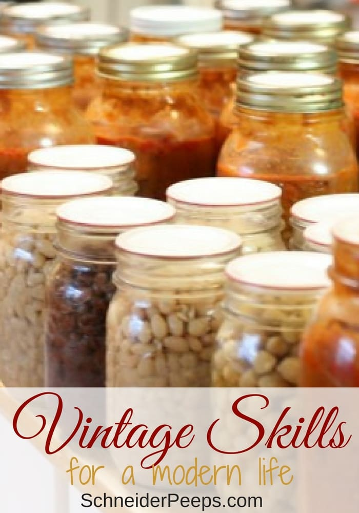 Vintage skills have a place in our modern life. These skills are not just about homemaking skills, they can save you money and time. Some of these skills are sewing, cooking from scratch, natural remedies, home repairs, and preserving food.