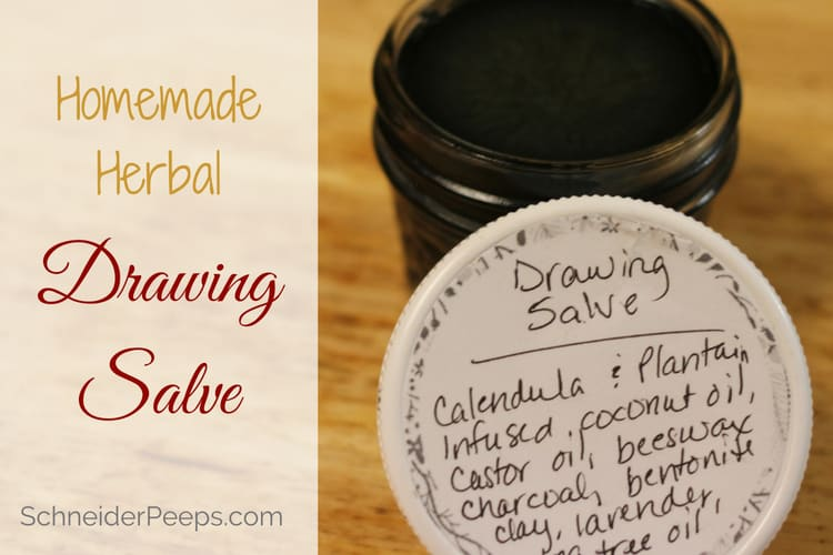 photo of black drawing salve in mason jar with label on lid