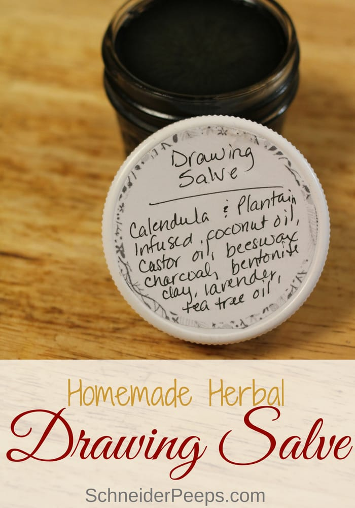 photo of black drawing salve with label