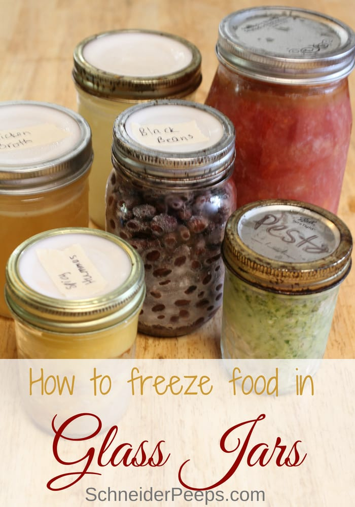 photo of frozen food in glass jars