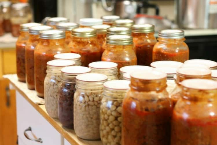 photo of home canned food in mason jars