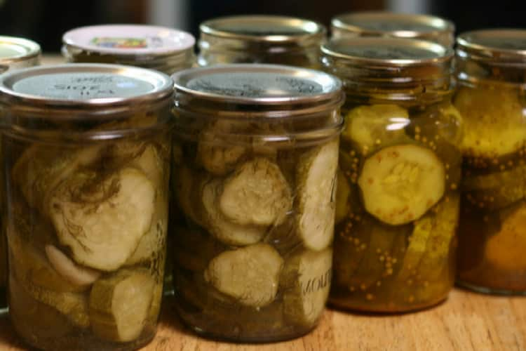 photo of home canned pickles in mason jars