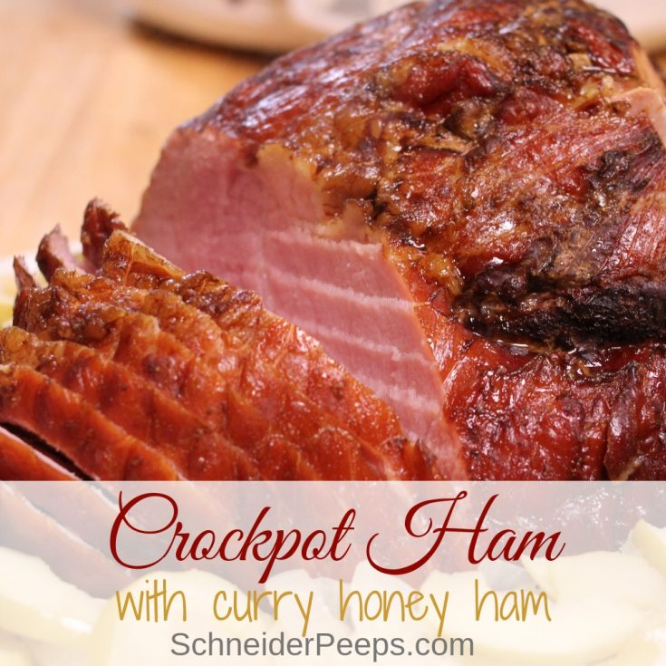 Crockpot ham is so very easy to make and is great for dinner on a busy day. It can be paired with roasted vegetables, fried apples and onions, or even served on bread as sandwiches.